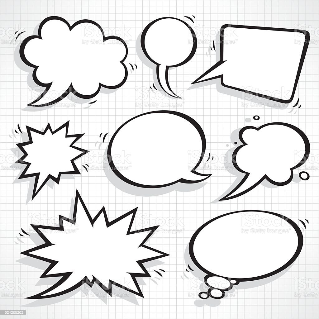 Speech bubbles set vector art illustration