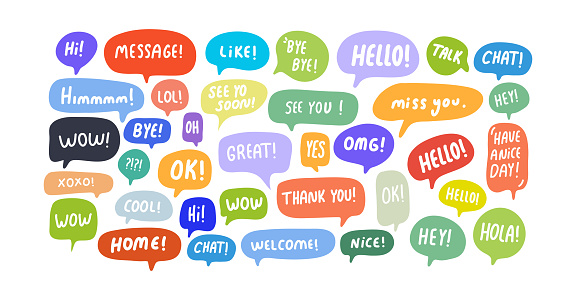 Speech Bubbles Short Phrases, Great, Message, Thank You, Bye, Ok ,Omg, Wow, Xoxo, Oh, Nope, Hello, Nice, Yes