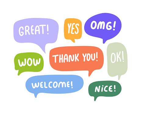 Speech Bubbles Short Phrases, Great, Yes, Omg, Wow, Thank You, Ok, Welcome, Nice