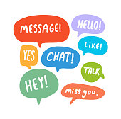 Speech Bubbles Short Phrases, Message, Hello, Yes, Chat, Talk, Hey, Mis You, Like