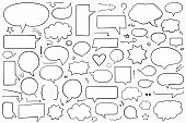 Collection of hand drawn speech bubbles, arrows and other design elements, solid shapes, vector eps10 illustration