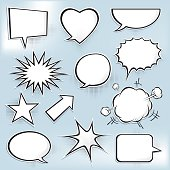 Set of glossy speech bubble icons. Vector, EPS and JPG.