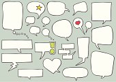 A collection of hand drawn, comic style speech bubbles - File includes high res jpg