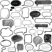 Set of drawing speech bubbles, different variations.
