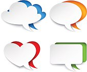 Vector set of 4 speech bubble icons.