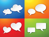 Vector set of 4 speech bubbles compositions.