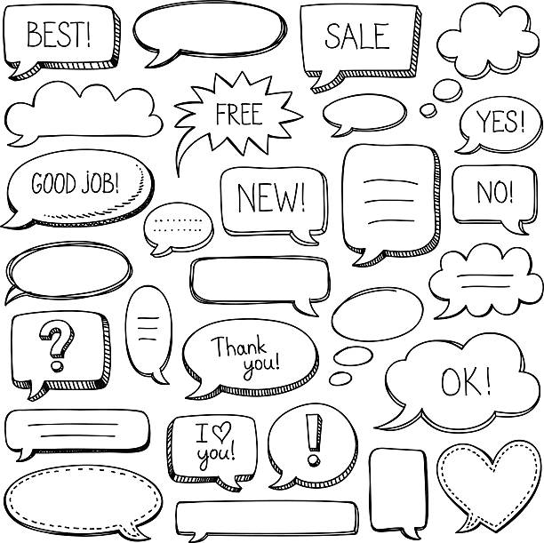 speech bubbles - doodles and hand drawn frames stock illustrations, clip art, cartoons, & icons