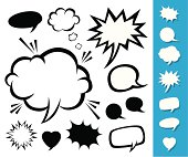 Vector illustration to show various talk and think balloons