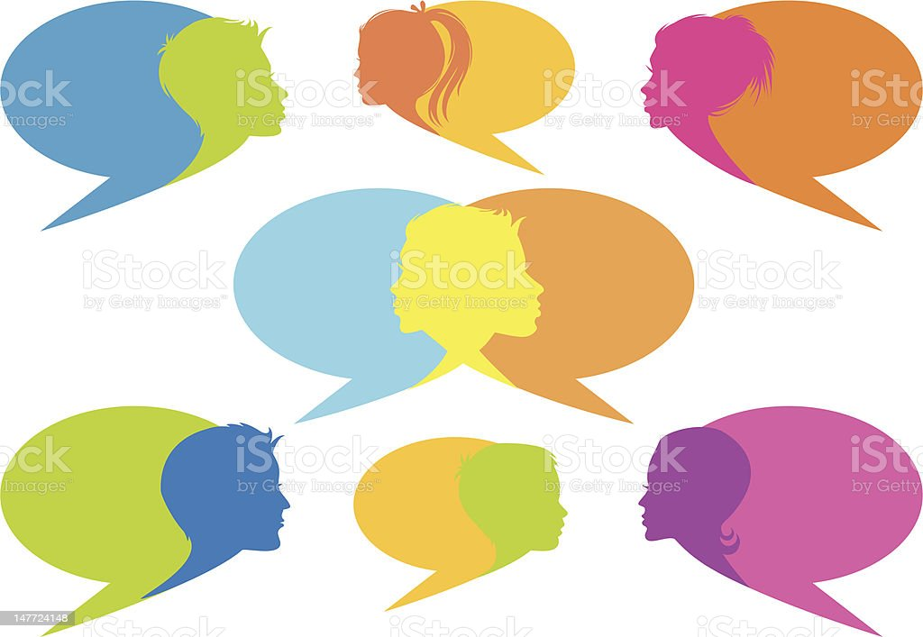speech bubbles with faces royalty-free stock vector art