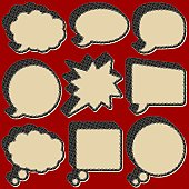 Set of nine out of register, grunge style thought/speech bubbles. Zoom in to see detail.