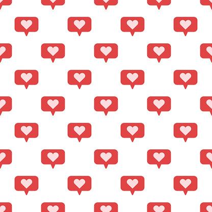 Speech bubbles with heart seamless vector pattern