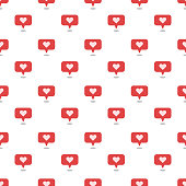 istock Speech bubbles with heart seamless vector pattern 1217389637