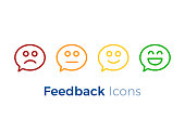 Speech bubbles with smiley faces expressing different levels of satisfaction. Feedback icon design.