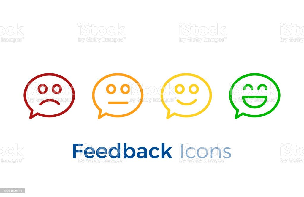 Speech bubbles with smiley faces expressing different levels of satisfaction. Feedback icon design. vector art illustration