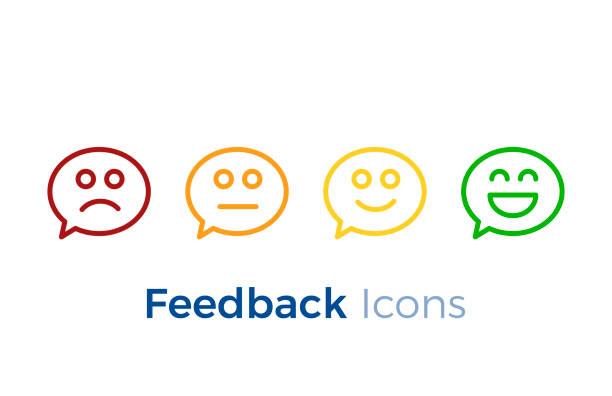 Bulles avec des visages souriants exprimant les différents niveaux de satisfaction. Conception de rétroaction d'icône. - Illustration vectorielle