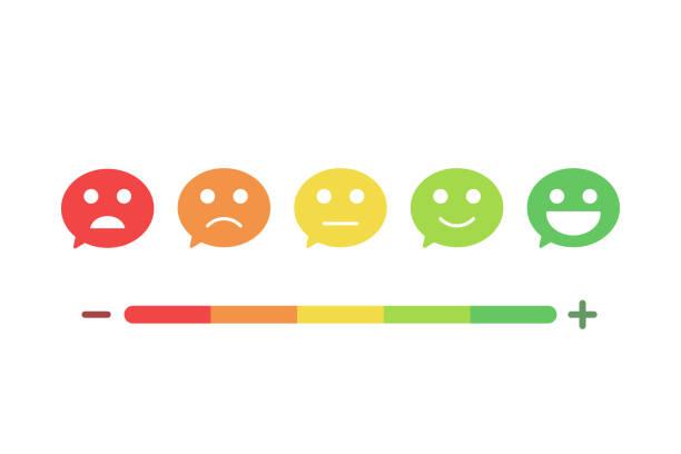 Bulles avec des visages souriants exprimant les différents niveaux de satisfaction. Conception de rétroaction d'icône plate. Illustration de fond vectorielle - Illustration vectorielle