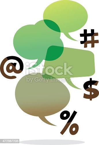 istock speech bubbles with symbols (arroba, dollar, hashtag and percent) 472387205