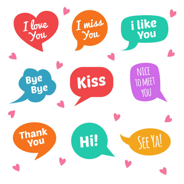 speech bubbles with text. i love you, i miss you, kiss, i like you, etc - kiss stock illustrations