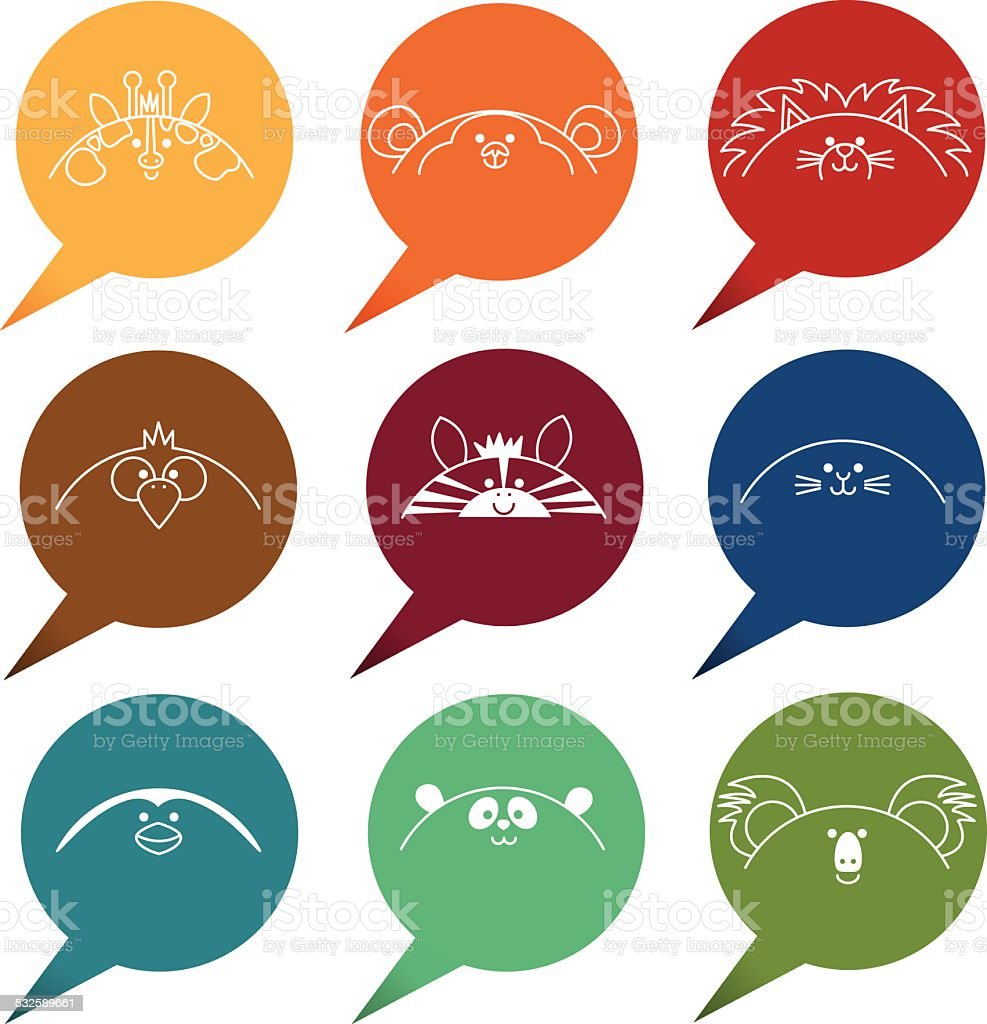 Speech bubbles with zoo and wild animals icons vector art illustration