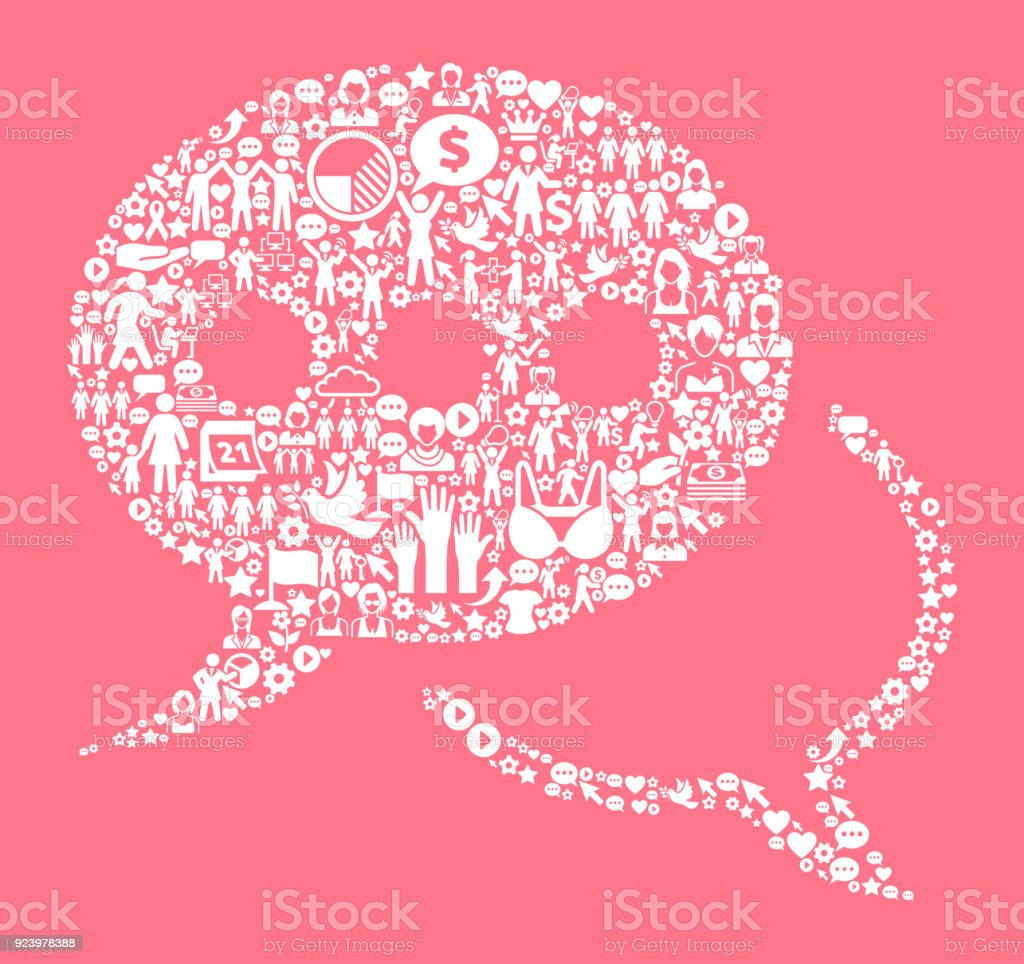 Speech Bubbles Women's Rights and Girl Power Icon Pattern vector art illustration