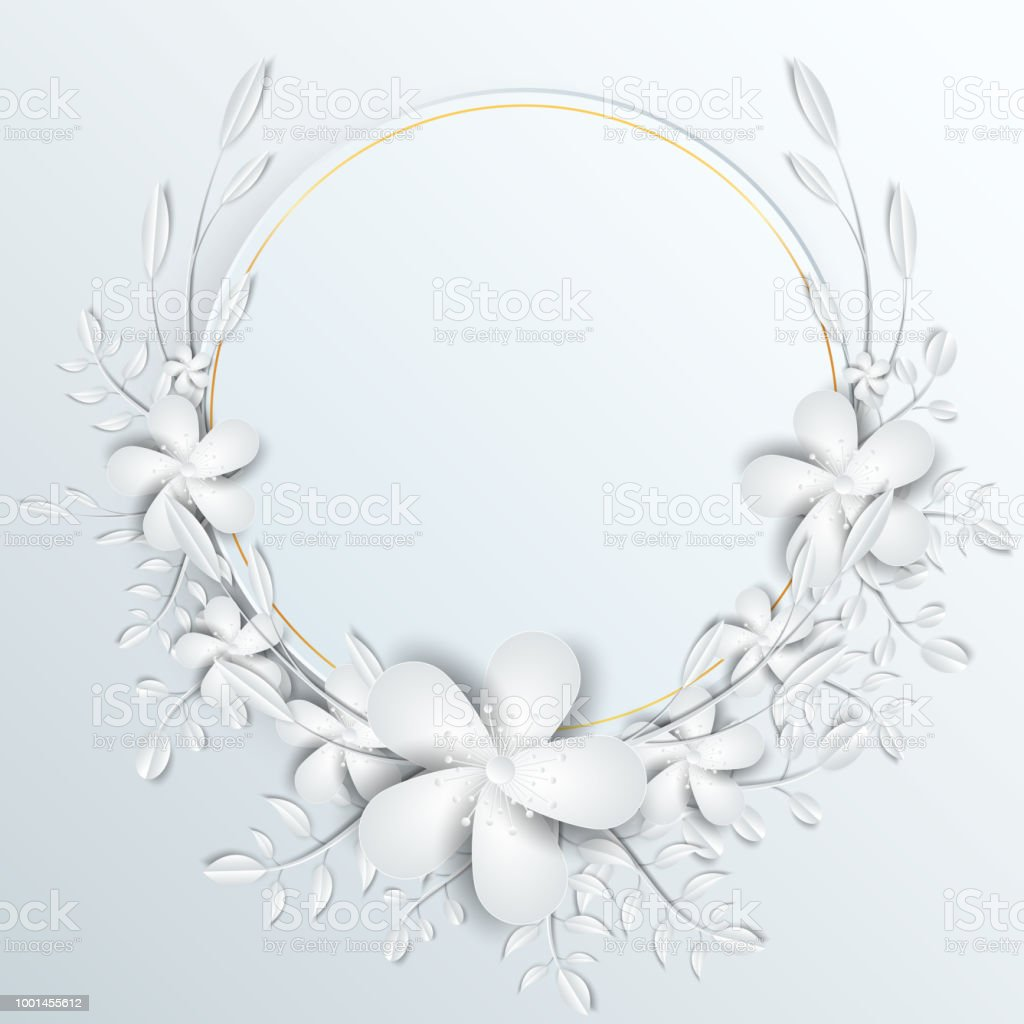 Speech Frame With White Cut Out Paper Flowers Stock Vector Art