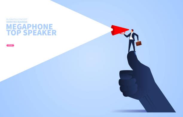 Redeleiter, Geschäftsmann hält ein Megaphon auf einem riesigen Daumen stehend – Vektorgrafik