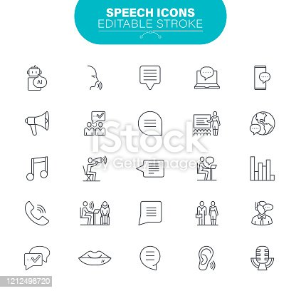 Bubble Message, Sound Recording Equipment, Audio Equipment, Microphone, Editable. Outline Icon Set