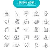 Bubble Message, Sound Recording Equipment, Audio Equipment, Microphone, Editable. Outline Icon Set