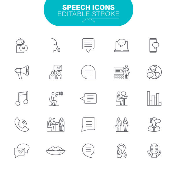 Speech Line Icons. Set contains icon as Speaker, Sound, Audio Equipment, Message, Microphone, Illustration vector art illustration
