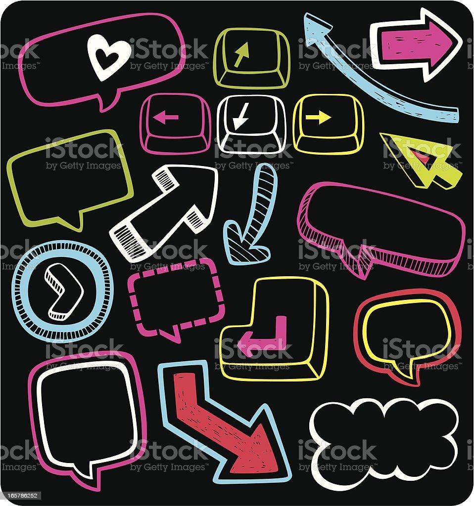 speech messages, arrows & buttons vector art illustration
