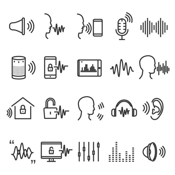 speech recognition device - hałas stock illustrations