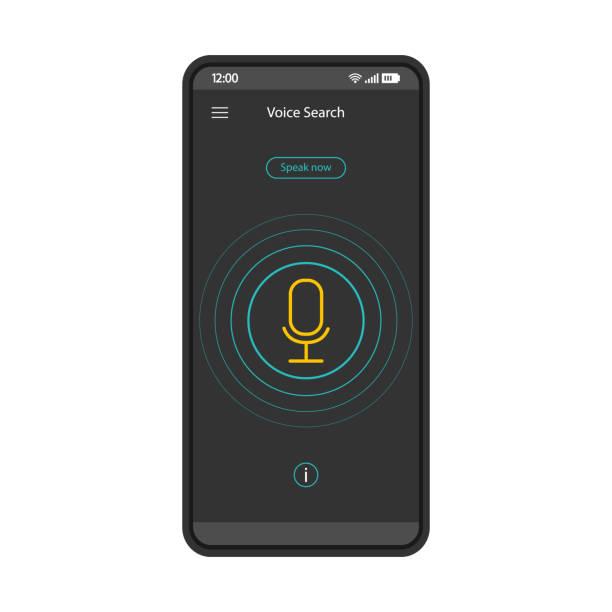 illustrazioni stock, clip art, cartoni animati e icone di tendenza di modello vettoriale dell'interfaccia dello smartphone di riconoscimento vocale - video call