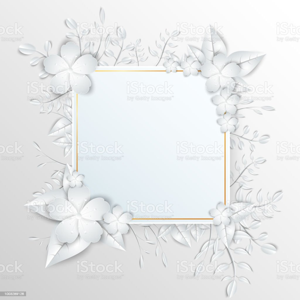 Speech Square Frame With White Cut Out Paper Flowers Stock Vector