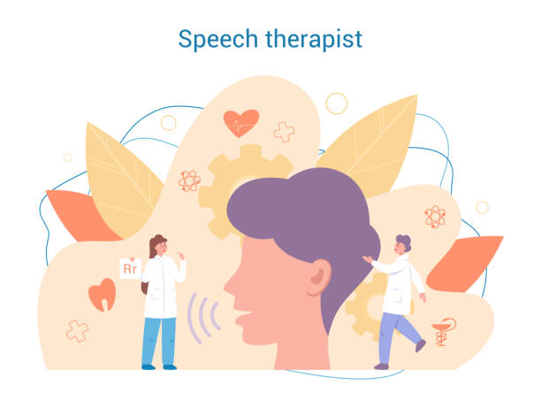 Speech therapist concept. Didactic correction and treatment idea. vector art illustration