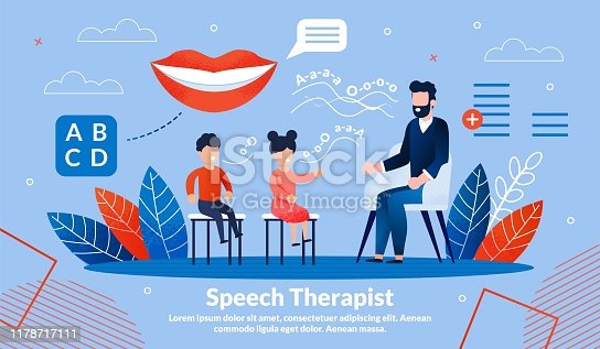 Speech Therapist Practice, Didactic Aids Correction and Treatment Trendy Flat Vector Vector Banner, Poster Template. Children Visiting Psychologist for Pronunciation, Voice Training Illustration