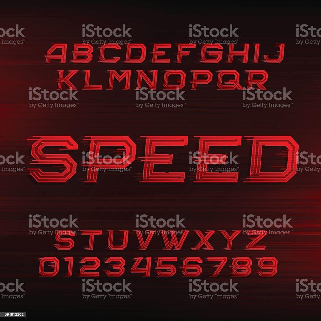 Speed alphabet font vector art illustration