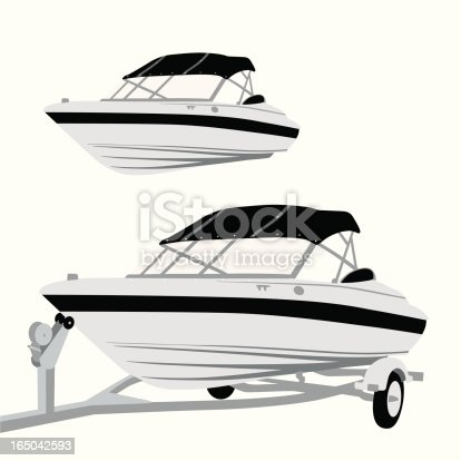 istock Speed Boat Vector Silhouette 165042593