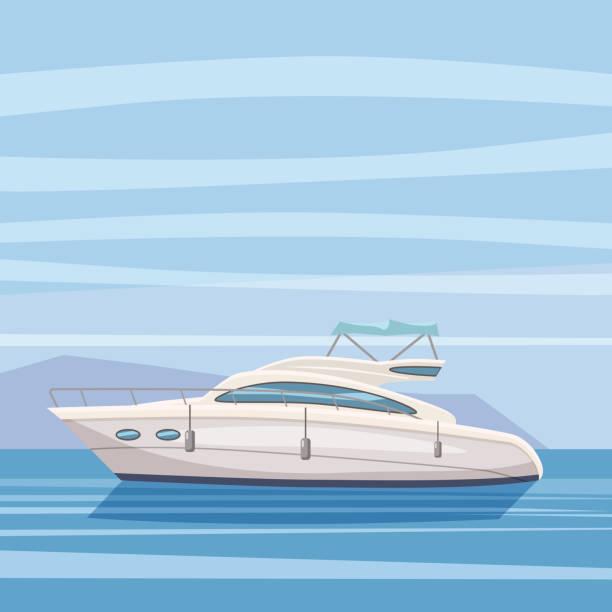 illustrations, cliparts, dessins animés et icônes de bateau, yacht, sur fond de paysage marin, style cartoon, vector illustration, isolé - voilier à moteur
