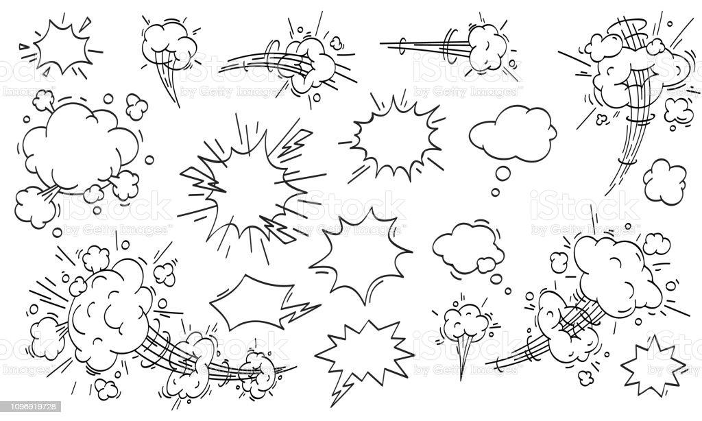 Comic de la nube de velocidad. Dibujos animados movimiento rápido nubes vector set ilustración de comic de la nube de velocidad dibujos animados movimiento rápido nubes vector set y más vectores libres de derechos de ambiente libre de derechos