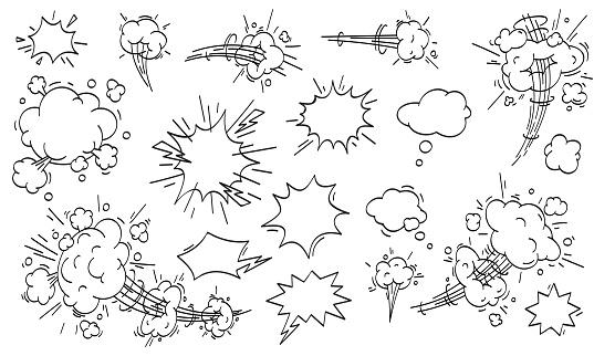 Speed cloud comic. Cartoon fast motion clouds vector set clipart