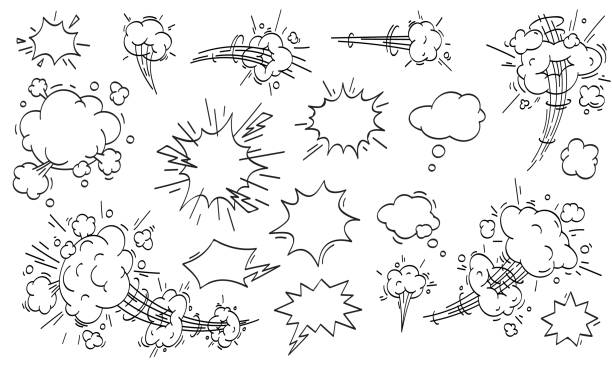 speed cloud comic. cartoon fast motion clouds vector set - журнал комиксов stock illustrations