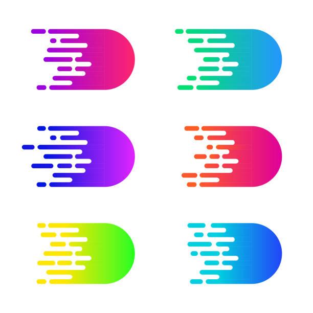 ilustraciones, imágenes clip art, dibujos animados e iconos de stock de concepto de velocidad. efecto de vector movimiento comics. líneas de velocidad simple colorido - velocidad