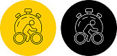 Speed Cycling Icon. This 100% royalty free vector illustration is featuring a round button in yellow with the main icon depicted in black. There is an alternative black and white version on the right.