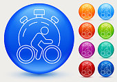 Speed Cycling Icon. This 100% royalty free vector illustration is featuring a blue round button with a drop shadow and the main icon is depicted in white. There are eight more color variations included on the right side of the image.