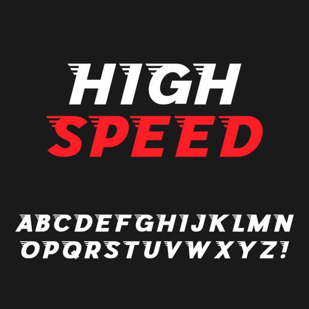 speed. dynamic italic font - alphabet icons stock illustrations