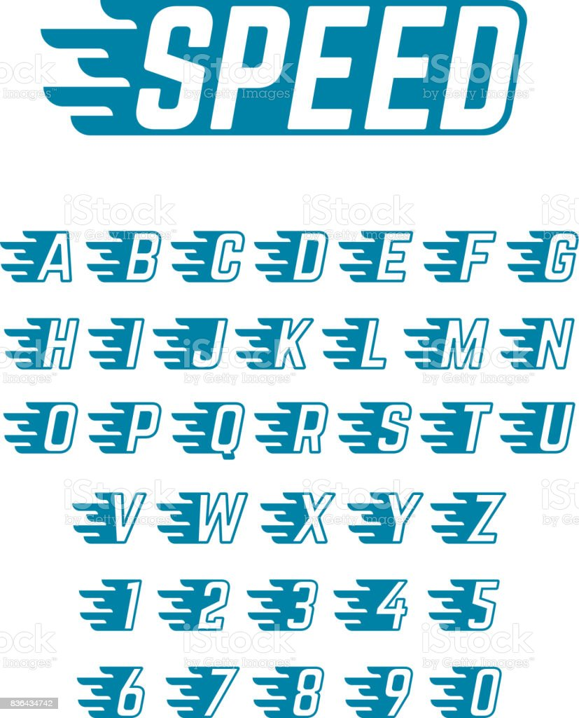 Speed flying vector alphabet fast symbols typeface for racing car alphabet alphabetical order number sport sports race biocorpaavc