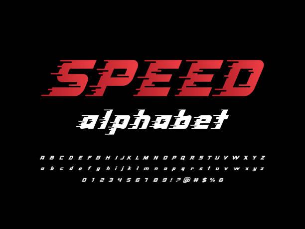 ilustraciones, imágenes clip art, dibujos animados e iconos de stock de letra de velocidad - velocidad