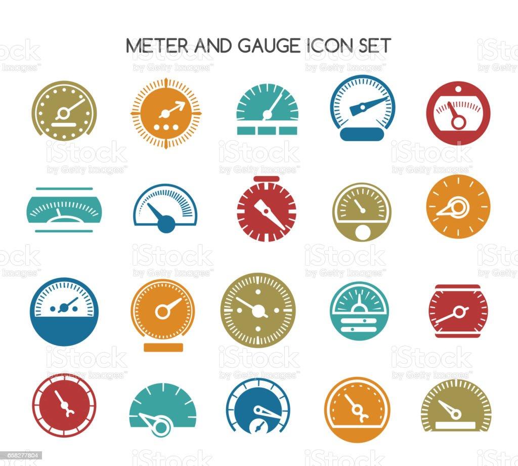 Speed gauge icons. Vector circular barometer or meter sign vector art illustration
