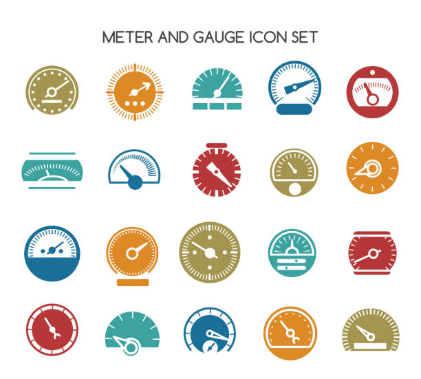 Speed gauge icons. Vector circular barometer or meter sign vector art illustration