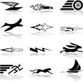 A conceptual icon set relating to speed, being fast, and or efficient